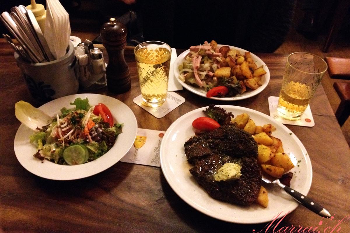 Fichte Kränzi, Entrecote Virginia vom Grill mit Bratkartoffeln & Salat, Wurst-Käse-Salat