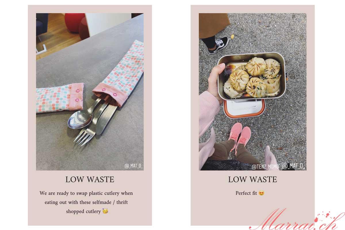 Vorbildlich mit Besteck & Behälter für das Mittagessen